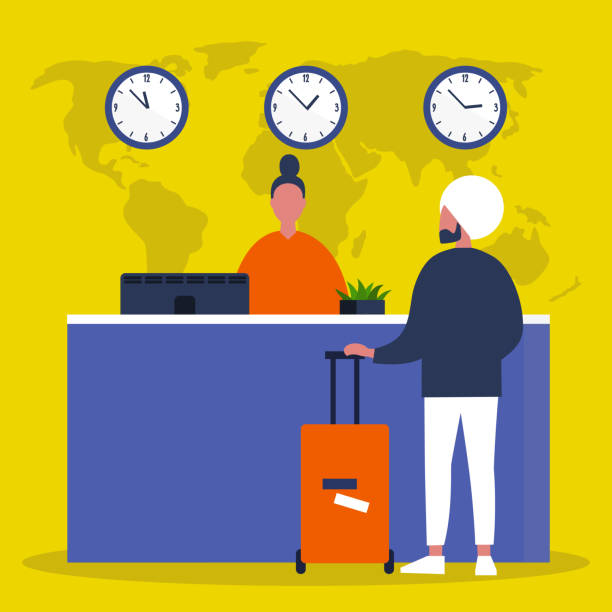 the reception desk. airport check in. hotel lobby. service. flat editable vector illustration, clip art - hotel reception stock illustrations