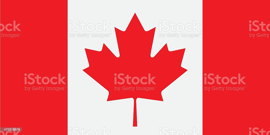 The red and white cardigan flag with its famous maple leaf vector art illustration