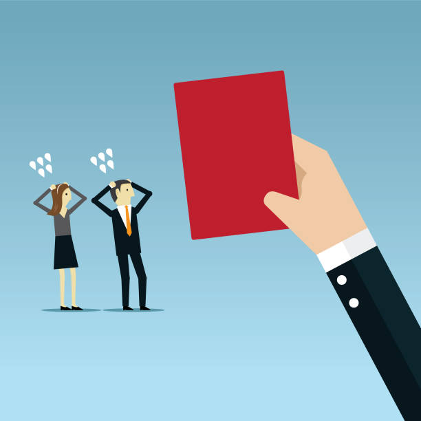 The red card Human Hand, Manager, Caricature, People, Employment punishment stock illustrations