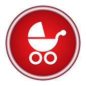 The red circle icon baby carriage on a white background. Vector illustration.