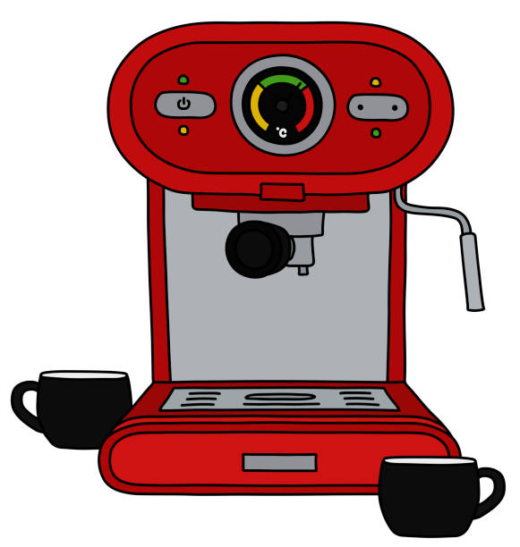 illustrazioni stock, clip art, cartoni animati e icone di tendenza di the red electric espresso maker - argento metallo caffettiera
