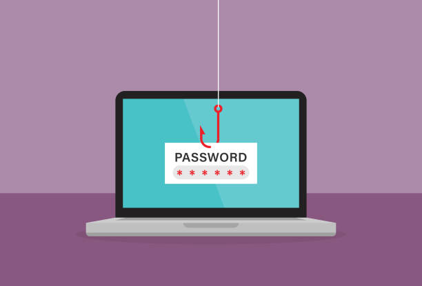The red fishing hook is stealing password on a laptop Abstract, Adult, Bank, Banking, Notebook, Protection, Hacker phishing stock illustrations