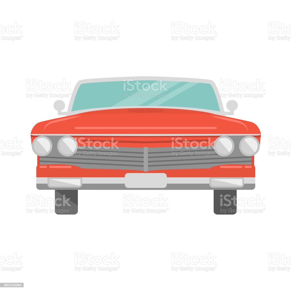 The red retro car the front view vintage cabriolet coupe car a vector in flat style.Infographics concept for design. vector art illustration