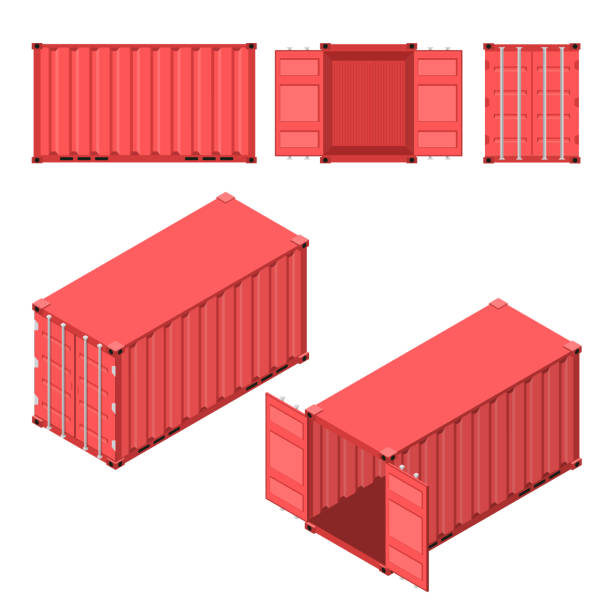 The red shipping container. Flat and isometric styles. The red shipping container. Flat and isometric styles. Open and closed case. Storage and delivery of cargo. Vector illustration. container stock illustrations
