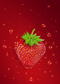 The red strawberry has a red background droplet, suitable for writing text and posters.;