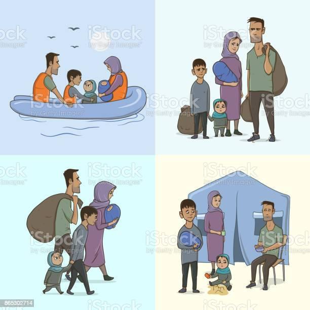 The refugee family with children sailing to europe on the boat land vector id865302714?b=1&k=6&m=865302714&s=612x612&h=hm2r1j8oi5dfir0sheqg6b4dpyebacybfep rbz0tig=