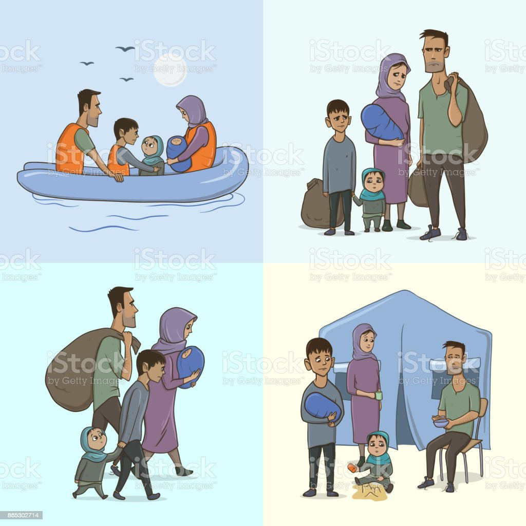 The Refugee Family with Children. Sailing to Europe on the Boat. Land Transition and Life in the Refugee Camp. European Migrant Crisis Concept. Vector Illustration. vector art illustration