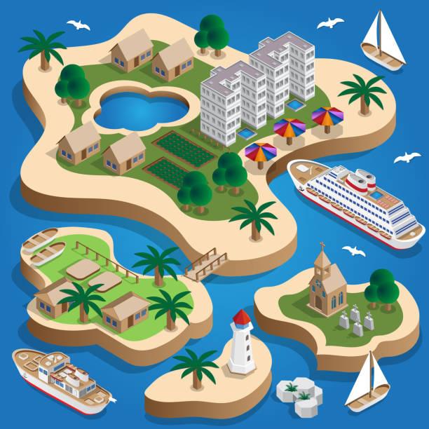 The resort is on the islands. Isometric. Vector illustration. island stock illustrations