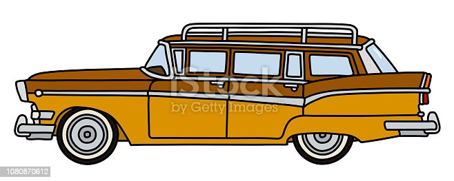 The hand drawing of a funny retro brown american station wagon