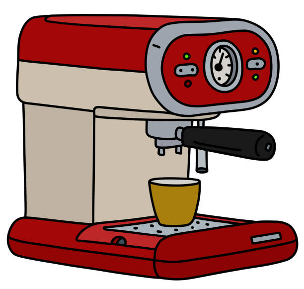 illustrazioni stock, clip art, cartoni animati e icone di tendenza di the retro electric espresso maker - argento metallo caffettiera