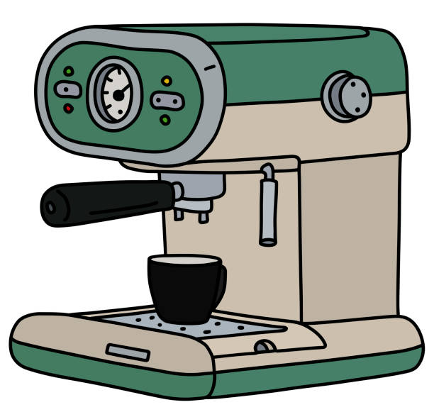 illustrazioni stock, clip art, cartoni animati e icone di tendenza di the retro green electric espresso maker - argento metallo caffettiera