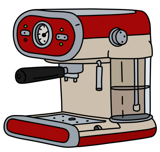 illustrazioni stock, clip art, cartoni animati e icone di tendenza di the retro red electric espresso maker - argento metallo caffettiera