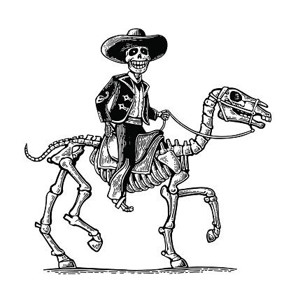El jinete hombre mexicano trajes nacionales galopante caballo esqueleto