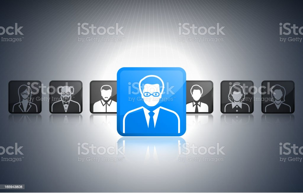 The right candidate friends and social connections stickers vector art illustration
