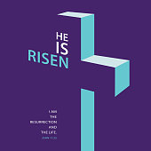 To celebrate the resurrection of Jesus Christ from the dead on the date of Easter with the 3-dimension cross concept on the purple background