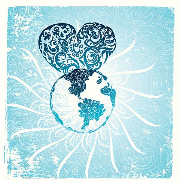 bildbanksillustrationer, clip art samt tecknat material och ikoner med the rising of humanity's heart - earth from space