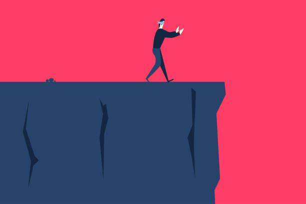 The risk A blindfolded man goes to the cliff careless stock illustrations