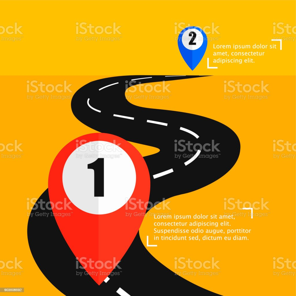 The Road From Point A To Punt B Way To Success Stock Vector Art