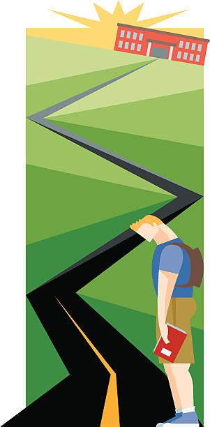 道路を教育 - 中学校点のイラスト素材/クリップアート素材/マンガ素材/アイコン素材