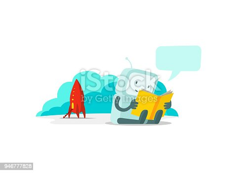 istock The robot has arrived on rocket and sits reading book. Instructions user guide. Error page not found. Flat color vector illustration 946777828