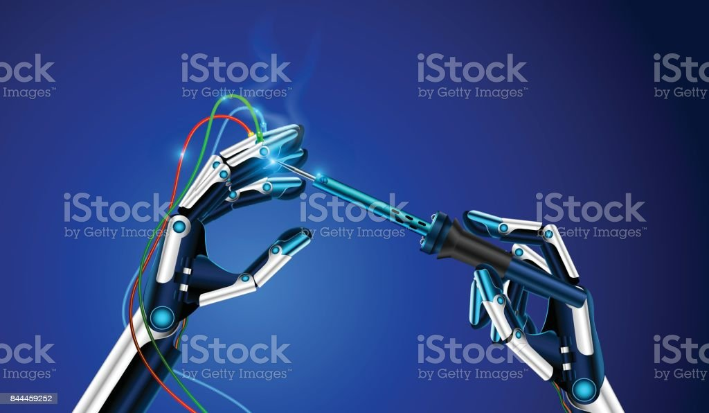 The robot holds in a hand a soldering iron vector art illustration
