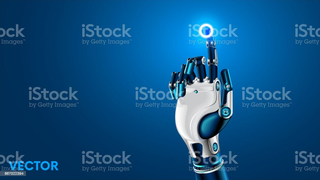 The robot mechanical arm or hand presses the index finger on the button a virtual holographic interface HUD. Artificial Intelligence futuristic design concept. vector art illustration