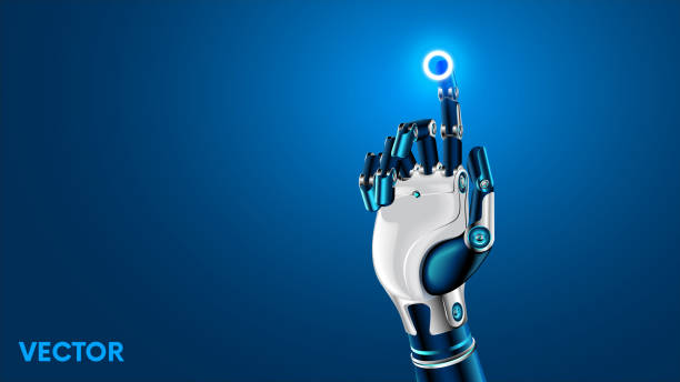 the robot mechanical arm or hand presses the index finger on the button a virtual holographic interface hud. artificial intelligence futuristic design concept. - robotics stock illustrations, clip art, cartoons, & icons