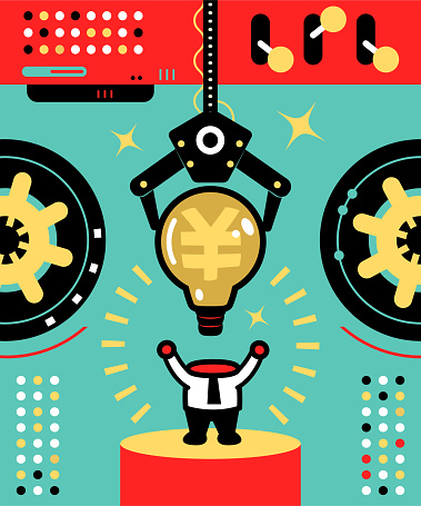 The robotic arm uses an idea light bulb with a Dollar sign as a businessman's head; To train (rewire) your brain to make more money (financial success)
