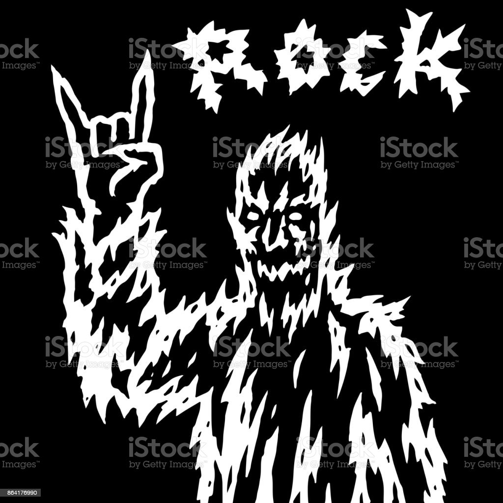 The rock demon gestures with the fingers of the horn. Vector illustration. royalty-free the rock demon gestures with the fingers of the horn vector illustration stock vector art & more images of animal head