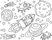 The rocket flies to the moon coloring book. Antistress planet, earth and moon Vetor illustration in icon style.