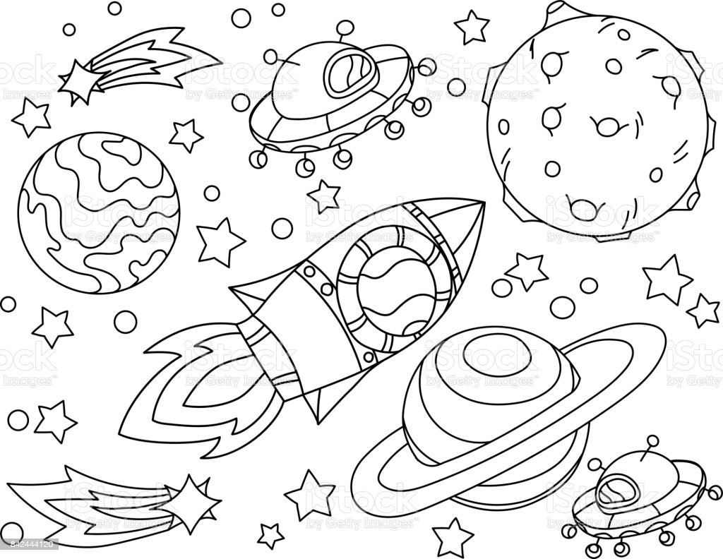 The rocket flies to the moon coloring book. Antistress planet, earth and moon Vetor illustration in icon style. vector art illustration