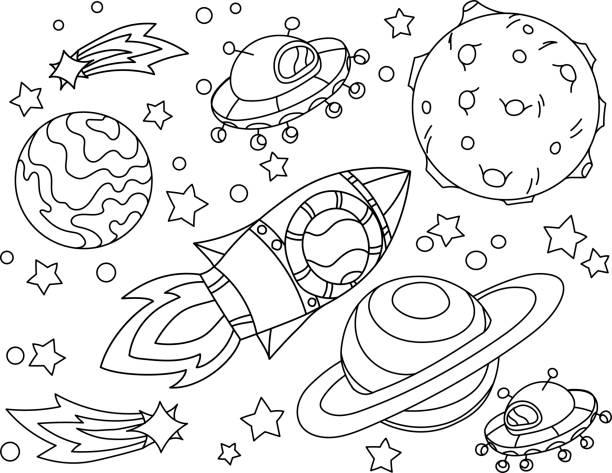 로켓 색칠 하는 달에 난다. antistress 행성, 지구 및 달 vetor 그림 아이콘 스타일. - 색칠하기 stock illustrations