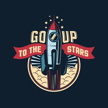 The rocket launches into space badge emblem in retro style