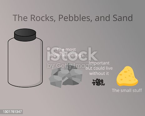 istock The Rocks, Pebbles, and Sand compare to prioritize important things in your life vector 1301761347