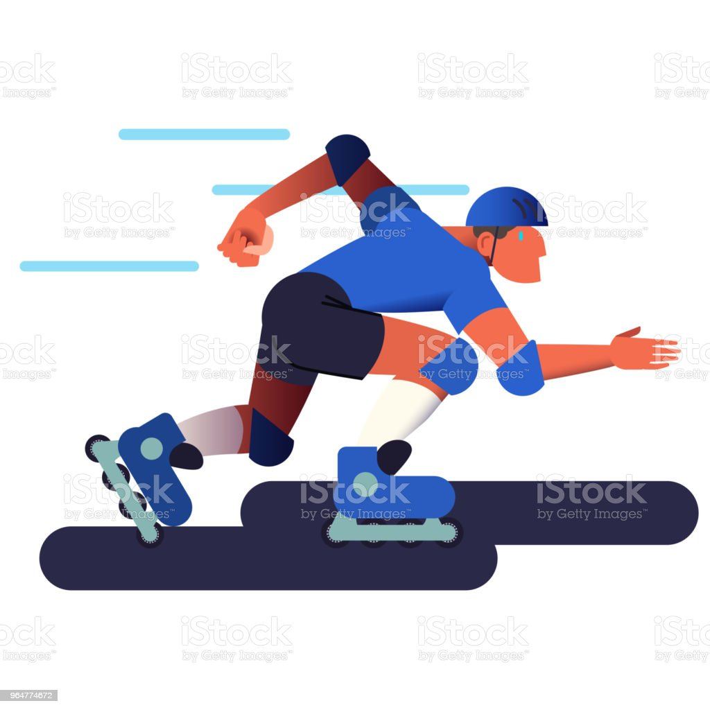 The roller man. Roller skates sportsman in flat with gradient design. It can be used for flyer, banner to sporting events, packing for sports goods. Vector illustration. royalty-free the roller man roller skates sportsman in flat with gradient design it can be used for flyer banner to sporting events packing for sports goods vector illustration stock vector art & more images of adult