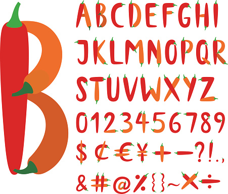 The Roman alphabet font composed of red chili peppers