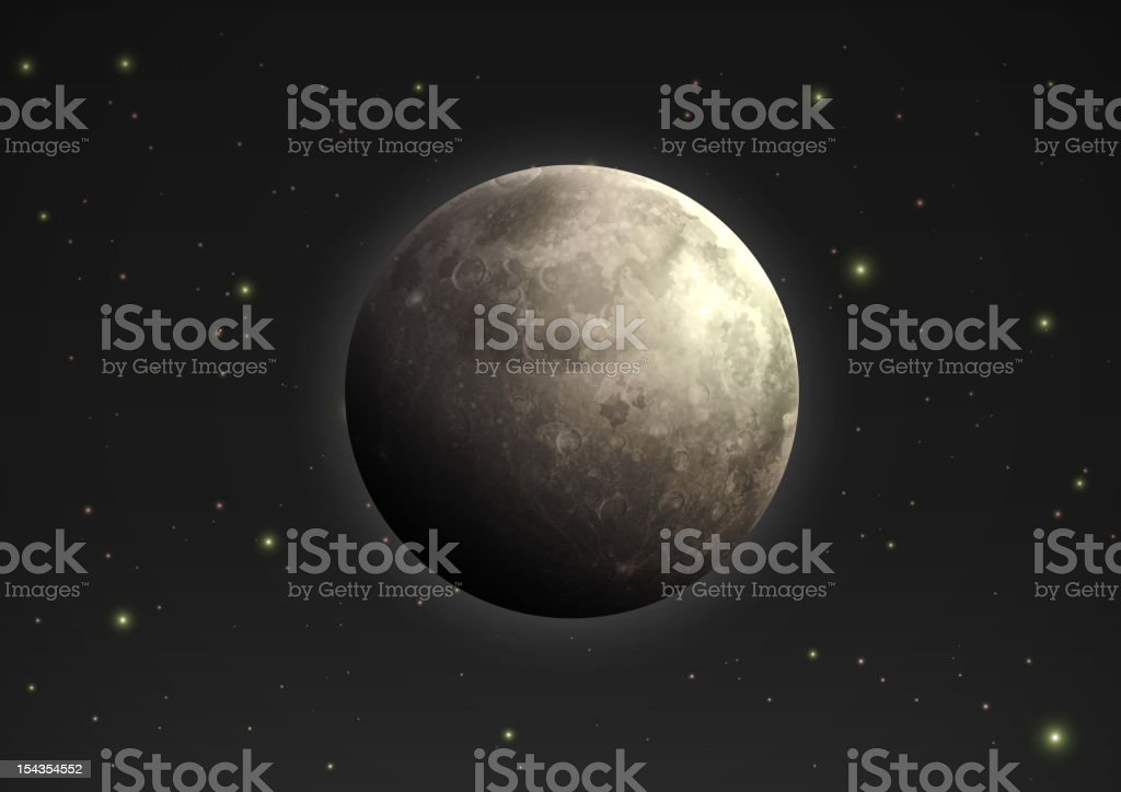 The rotation of the moon amongst the stars vector art illustration