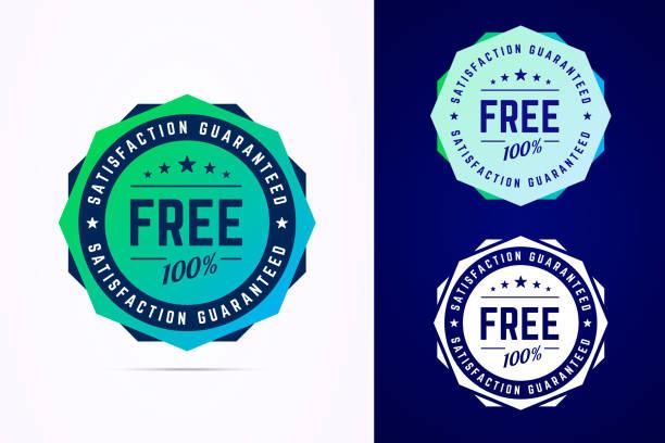 illustrazioni stock, clip art, cartoni animati e icone di tendenza di the round free sticker, tag, button, badge. - sigillo timbro