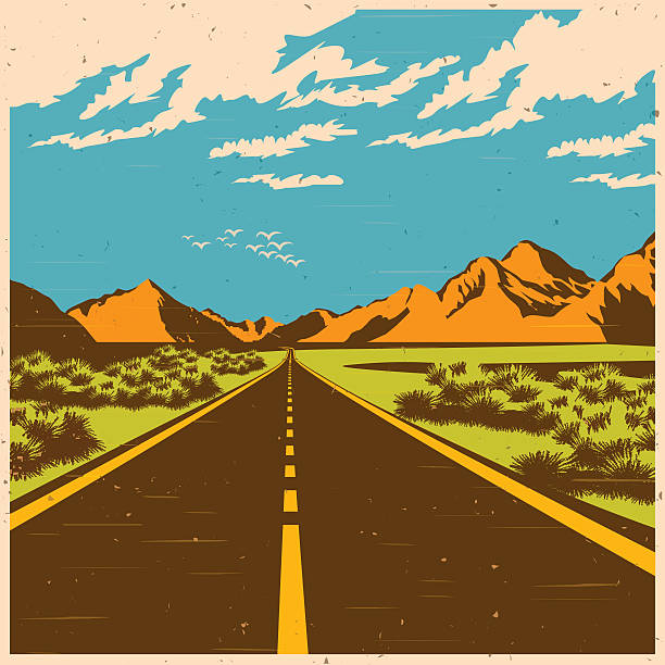 the route Stylized vector illustration of a route through the mountain valley in old poster style land feature stock illustrations