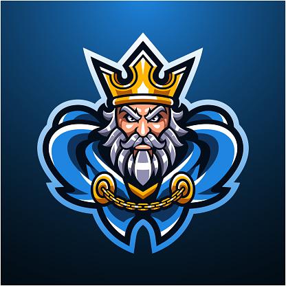 The royal king head mascot logo design