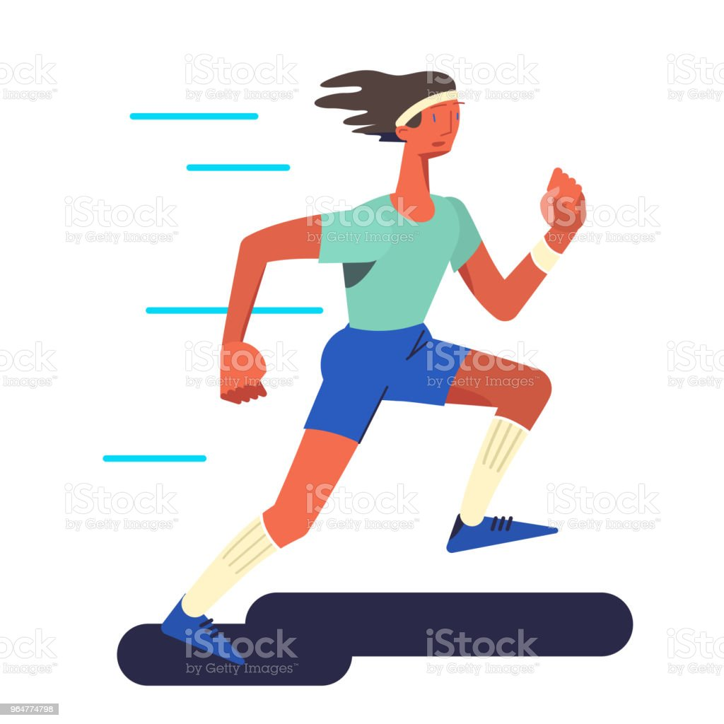 The runner. Running sportsman in flat with gradient design. It can be used for flyer, banner to sporting events, packing for sports goods. Vector illustration. royalty-free the runner running sportsman in flat with gradient design it can be used for flyer banner to sporting events packing for sports goods vector illustration stock vector art & more images of addiction