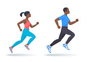 The running afroamerican people set. Side view of active sporty running young woman, man in a sportswear. Sport, jogging, fitness, workout, training concept. Flat vector illustration isolated on white