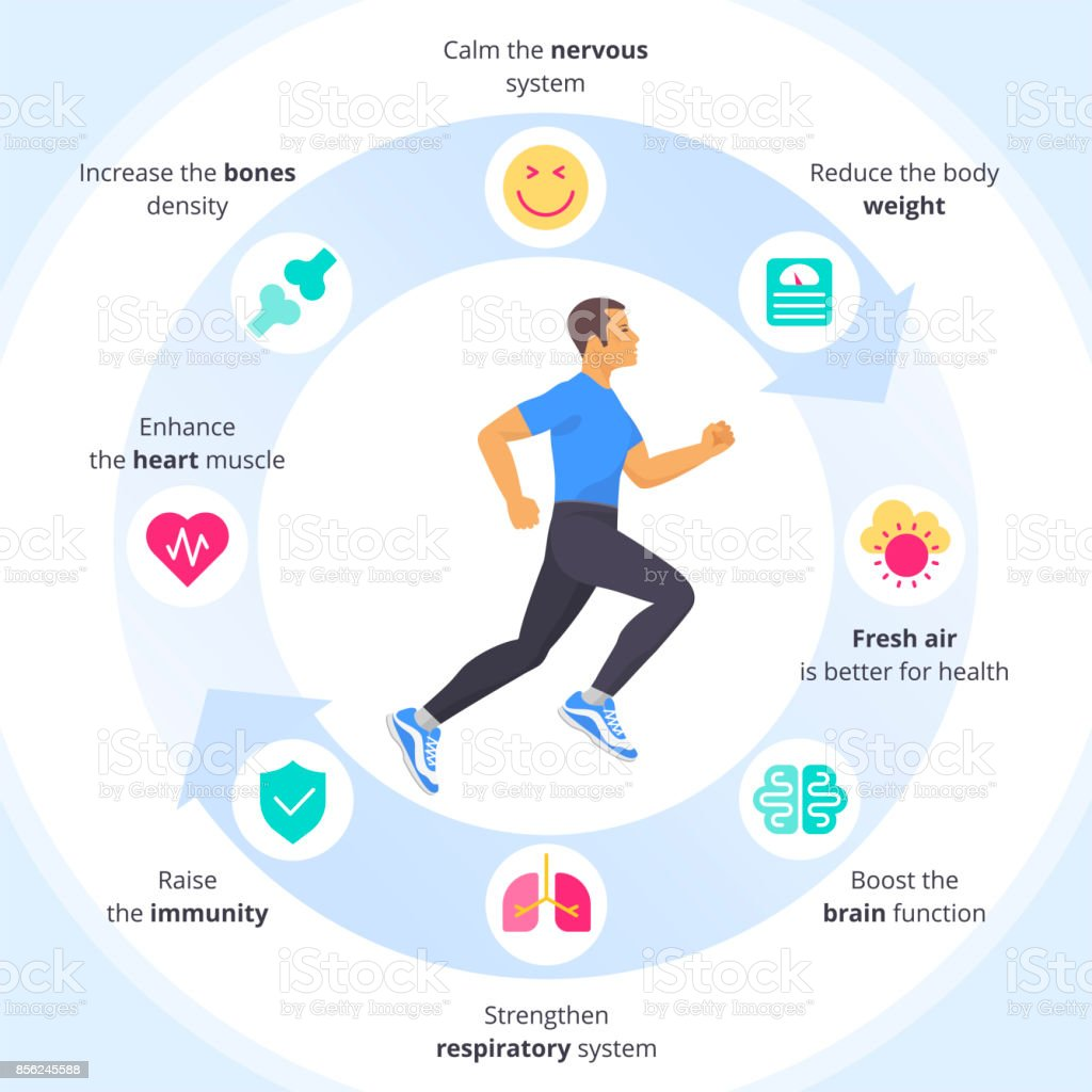 The running man with sports and internal organs icon set. vector art illustration