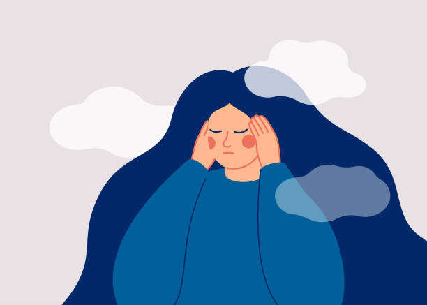 The sad woman touches her temples with her hands and suffers from a headache. The sad woman touches her temples with her hands and suffers from a headache. A depressed girl suffers from temporary memory loss and confusion. Vector illustration inconvenience stock illustrations