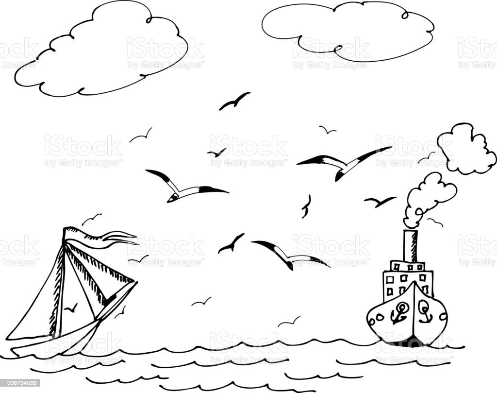 Yelkenli Ve Gemi Dalgalar Uzerinde Ucan Martilar Stok Vektor