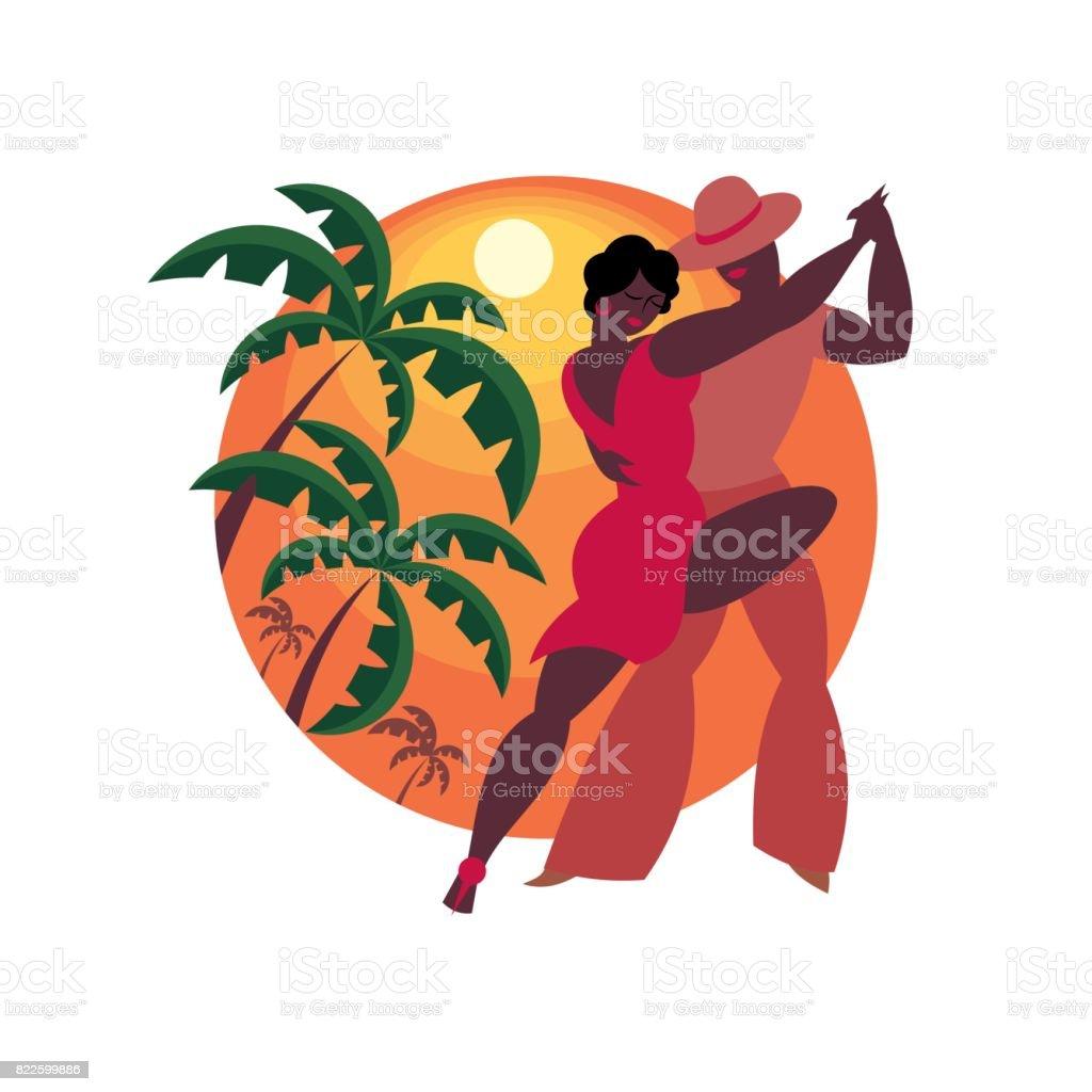 the salsa dance vector art illustration