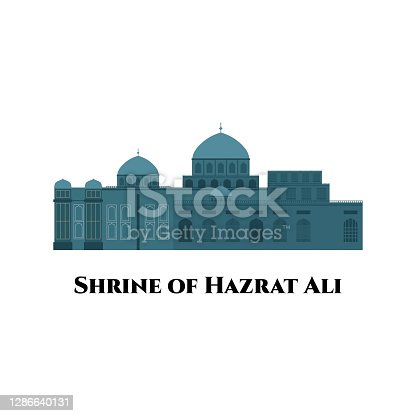 istock The Sanctuary of Imam 'Ali. Blue Mosque in Mazar-e Sharif, Afghanistan (Shrine of Hazrat Ali. The most impressive and beautiful shrine. Flat cartoon style vector illustration 1286640131