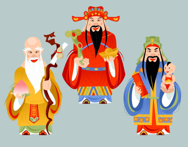 illustrazioni stock, clip art, cartoni animati e icone di tendenza di the sanxing. three chinese lucky gods: god of longevity (shou), prosperity (lu) and fortune (fu). - pesche bambino