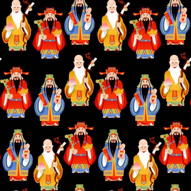 illustrazioni stock, clip art, cartoni animati e icone di tendenza di the sanxing. three chinese lucky gods: god of longevity (shou), prosperity (lu) and fortune (fu).  seamless background pattern. - pesche bambino