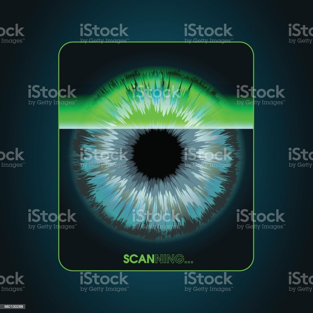 The scanning system of the retina, biometric security devices vector art illustration